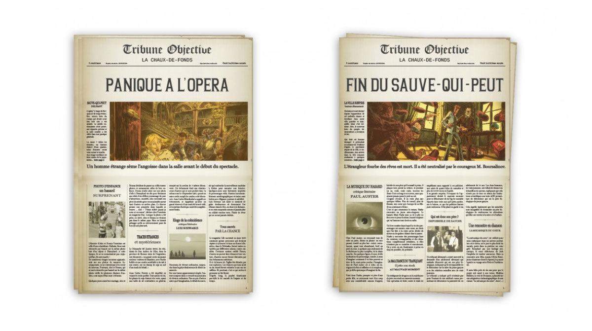 Le scarabée d'or, journaux fictifs réalisés par l'agence Zedcom