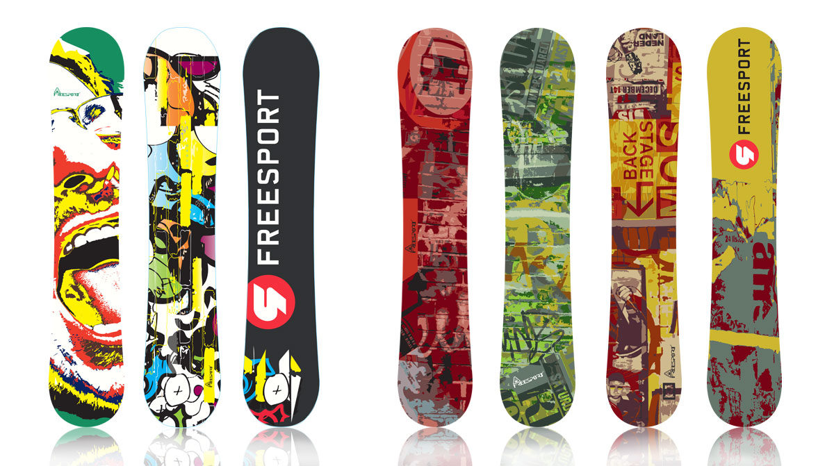 Snowboards design, Freesport Corp., by Zedcom agency